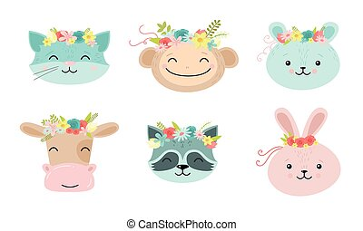 Cartoon funny cute animal faces with floral wreaths vector illustration