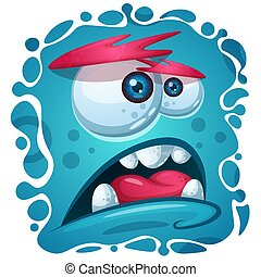 Cartoon funny, cute monster character. Halloween illustration.