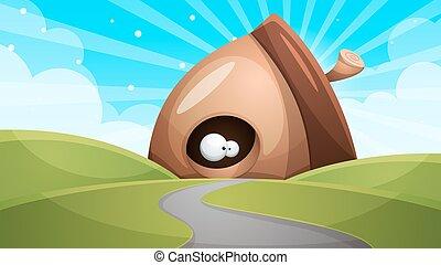 Cartoon funny, cute nuts with eye - illustration.