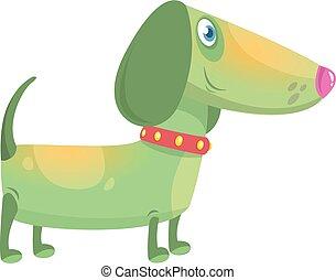 Cartoon Funny Dachshund Dog. Vector Illustration .