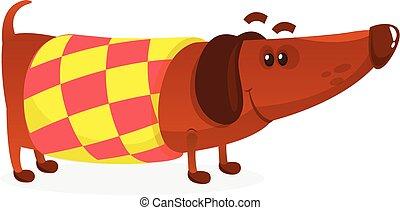 Cartoon Funny Dachshund Dog Wearing A Sweater. Vector Illustration .