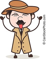 Cartoon Funny Detective Laughing and Teasing Tongue Vector...