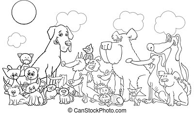 cartoon funny dog and cats coloring book
