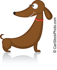 Cartoon funny dog breed dachshund. Illustration on white...