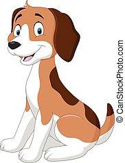 Cartoon funny dog sitting - Vector illustration of Cartoon...