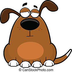 Cartoon illustration of a funny dog with a tired expression.