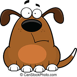 Cartoon illustration of a funny dog with a worried expression.