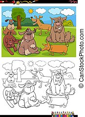 cartoon funny dogs and puppies group coloring book page