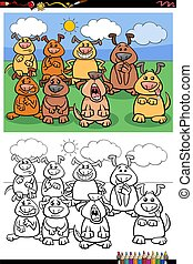 cartoon funny dogs group coloring book page