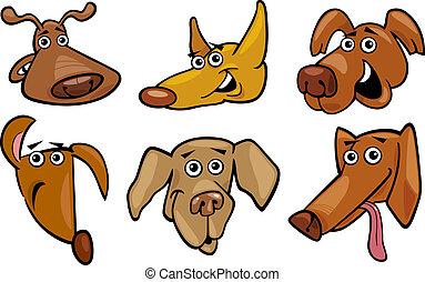 Cartoon Illustration of Different Funny Dogs Heads Set