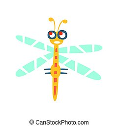 Cartoon funny dragonfly colorful character vector Illustration