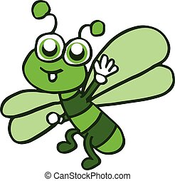 Cartoon funny dragonfly design for kids