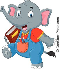 Cartoon funny elephant carrying book - Vector illustration...