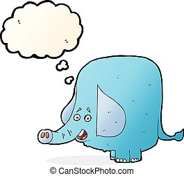 cartoon funny elephant with thought bubble