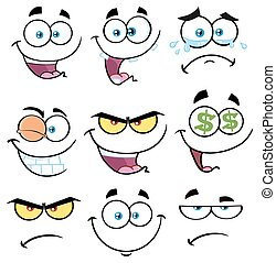 Cartoon Funny Face With Expression Set 1. Collection