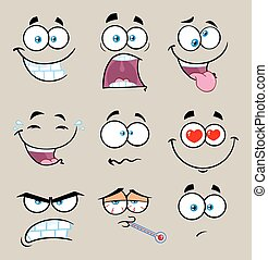 Cartoon Funny Face With Expression Set 2. Collection