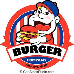 Cartoon funny fat man holding a burger