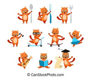 Cartoon funny ginger cats activity set. Kitty with spoon, fork, toothbrush. Sports kittens: with dumbbells, on  skateboard, on scooter. Cat  dancing, musician, reading and with scroll