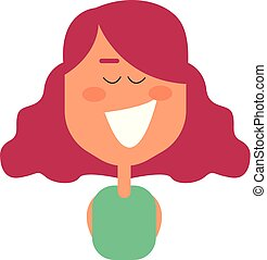 Cartoon funny girl has dyed her hair in pink vector or color illustration