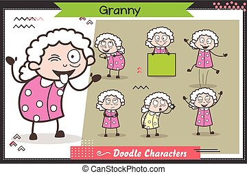 Cartoon Funny Granny Character Many Expressions and Poses Vector Set