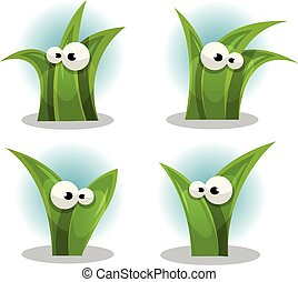 Cartoon Funny Grass Leaves Characters