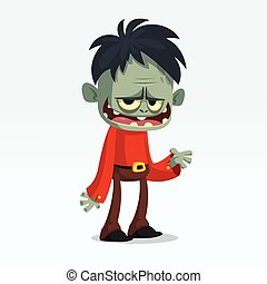 Cartoon funny green zombie  . Halloween vector illustration of monster