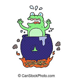 cartoon funny halloween toad - freehand drawn cartoon funny...