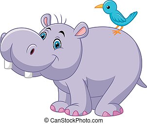 Cartoon funny hippo with bird - Vector illustration of...