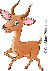 Cartoon funny impala - vector illustration of Cartoon funny...