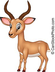 Cartoon funny impala isolated - Vector illustration of...
