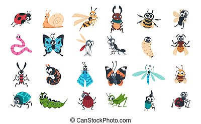 Cartoon funny insects. Colorful cute bugs characters set with smiling faces, snail, spider and caterpillar, butterfly and dragonfly, bumblebee and mosquito vector isolated collection
