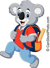 Cartoon funny koala with backpack - Vector illustration of...