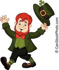 Cartoon funny leprechaun tipping his hat - Vector...
