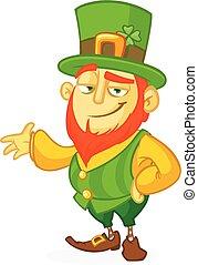 Cartoon funny Leprechaun. Vector illustration. St. Patrick's Day design