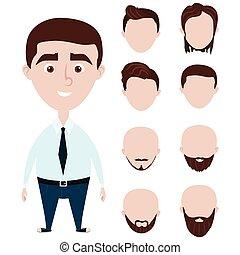 Cartoon funny man with haircuts set