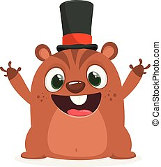 Cartoon funny marmot or chipmunk in major hat waving with smile