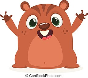 Cartoon funny marmot waving with smile. Vector illustration