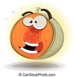 Cartoon Funny Melon Character - Illustration of a cartoon...