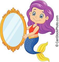 Cartoon funny mermaid swimming