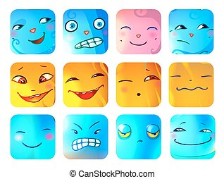 Cartoon Funny Monster Faces Set