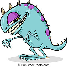 cartoon funny monster illustration - Cartoon Illustration of...