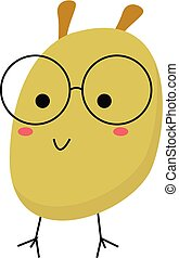 Cartoon funny monster with glasses vector or color illustration