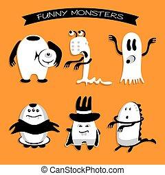 Cartoon funny monsters Halloween