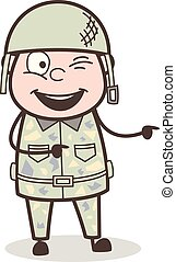 Cartoon Funny Naughty Army Officer Vector Illustration