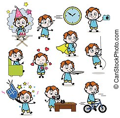 Cartoon Funny Office Guy - Set of Concepts Vector illustrations