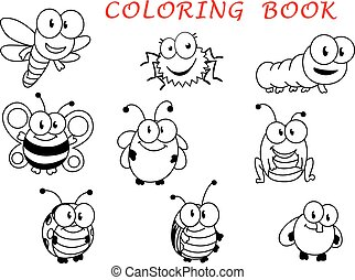Cartoon funny outline insect characters