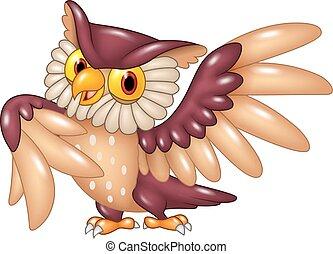 Cartoon funny owl bird posing