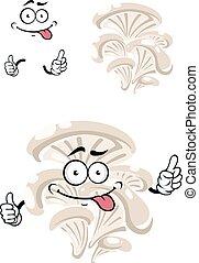 Cartoon funny oyster mushroom character