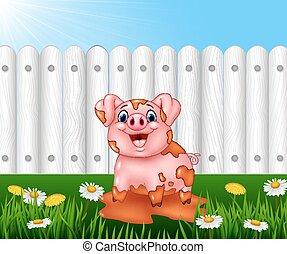 Cartoon funny pig playing