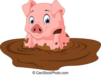 Cartoon funny pig sitting